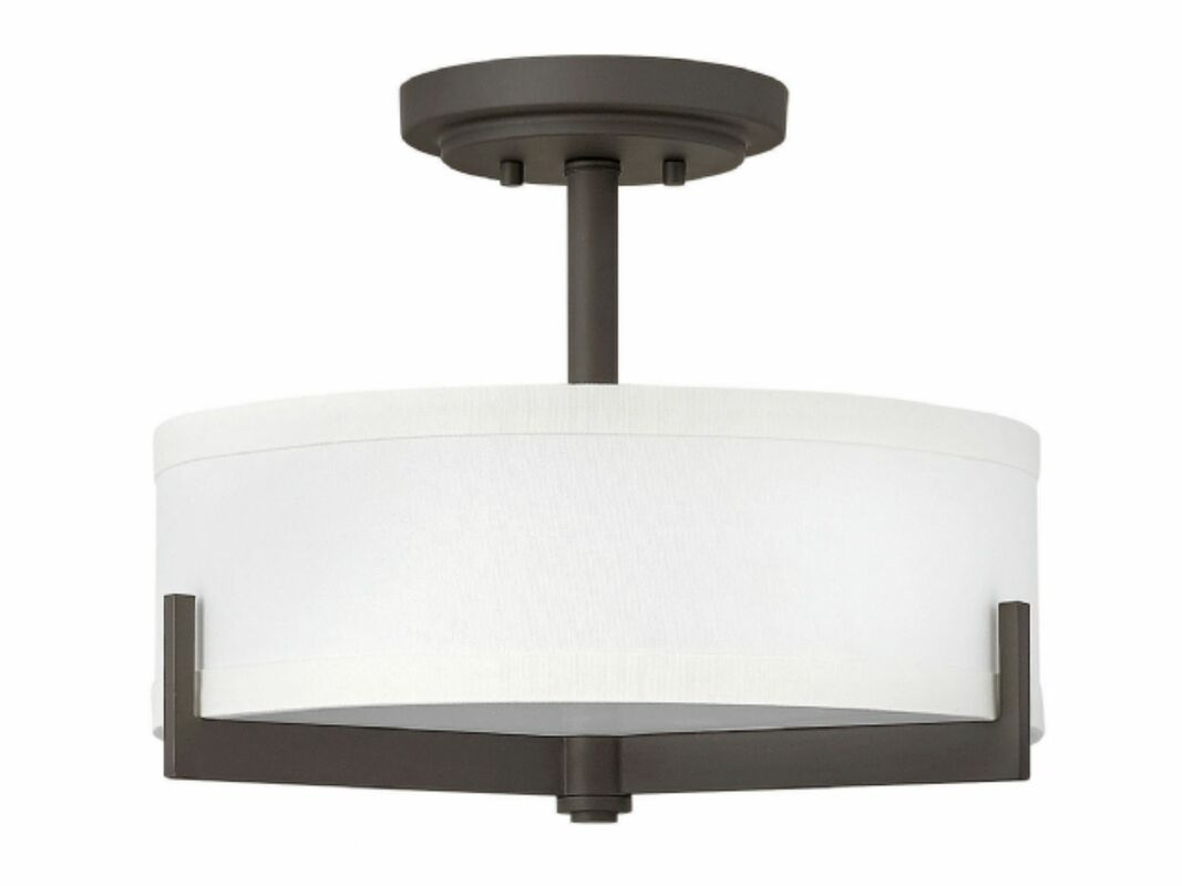 Hayes collection oil rubbed bronze finish off white linen shade 3 60w med base lamps w 406mm h 292mm